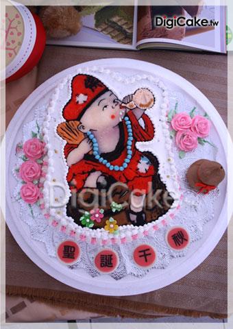 饮酒的照片,希望能够订做手绘2d造型蛋糕要在济公活佛圣诞当天使用,并图片